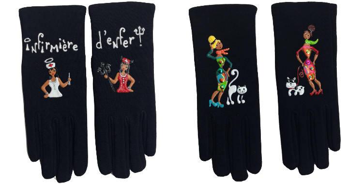 Gants taille unique en tissu noir de la maison Quand les poules auront des gants, collection 2015, décorés d'une infirmière à deux visages et de maîtresses d'animaux domestiques.