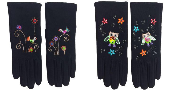 Gants taille unique en tissu noir de la maison Quand les poules auront des gants, collection 2015, décorés d'oiseaux ou de chouettes.