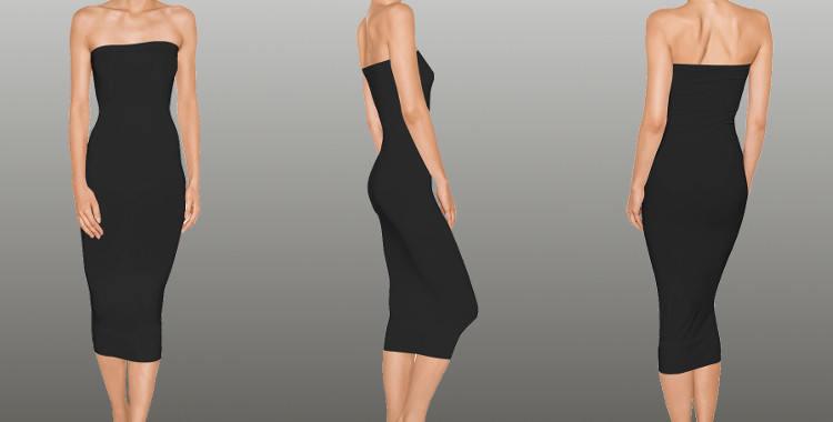 Robe Fatal, Wolford 2015, portée en robe longue mais pouvant être portée en robe courte, en jupe longue ou courte, coloris noir.
