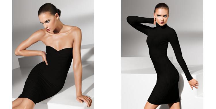 Vêtements Wolford 2015, robe fatal à porter en robe courte ou longue, en jupe longue ou courte (gauche) et robe mérino col roulé.