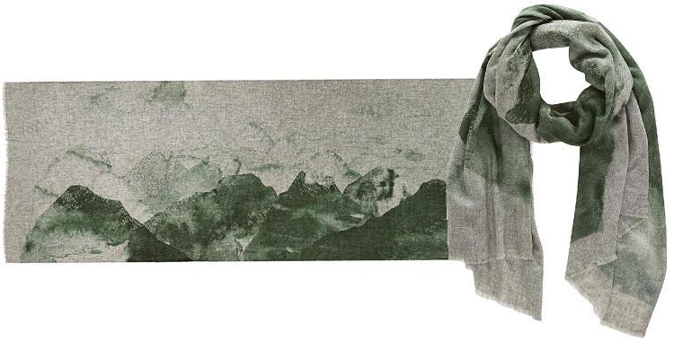 Foulards Inouitoosh, collection 2015, en laine fine et cachemire, le mont Olympe, coloris vert.