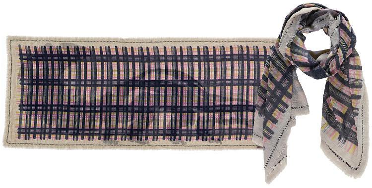 Foulard Inouitoosh, collection 2015, deux faces, carreaux d'un côté et blaireau de l'autre, coloris bleu.