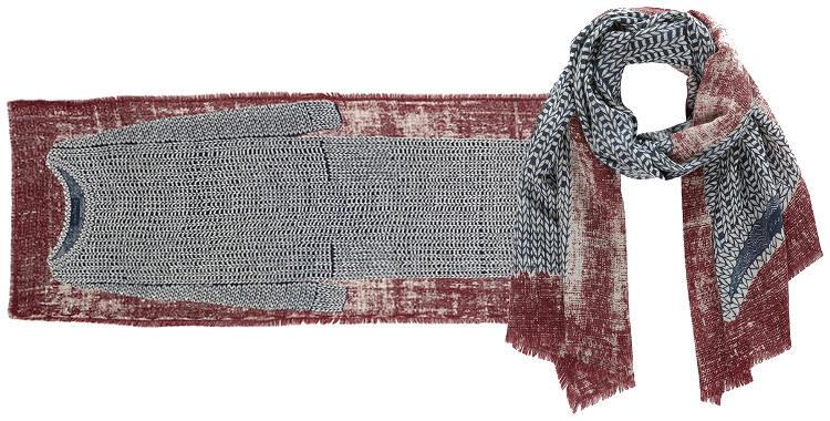 Foulards Inouitoosh, collection 2015, en étamine de laine extrafine, représentant une robe en laine, en coloris blanc.