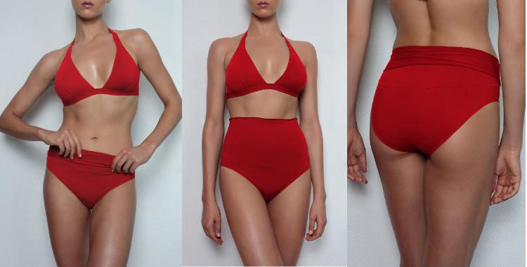 """Culotte de maillots de bain deux pièces, taille haute, à porter montante trés haut de façon """"rétro"""", plissée ou en la retournant, de façon taille basse ."""