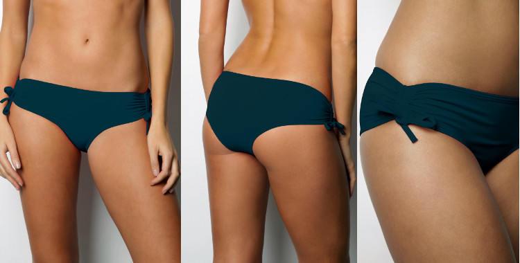Culotte de maillots de bain deux pièces, taille basse, effet plissé sur les côtés réglable.