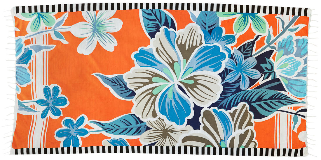 Foutas 100% coton Inouitoosh, collection 2016, les hibiscus bleus sur fond orange.