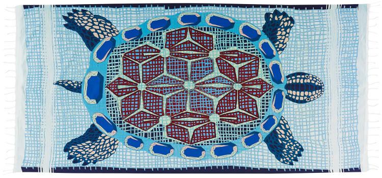 Foutas 100% coton Inouitoosh, collection 2016, la tortue Marinella en bleu.