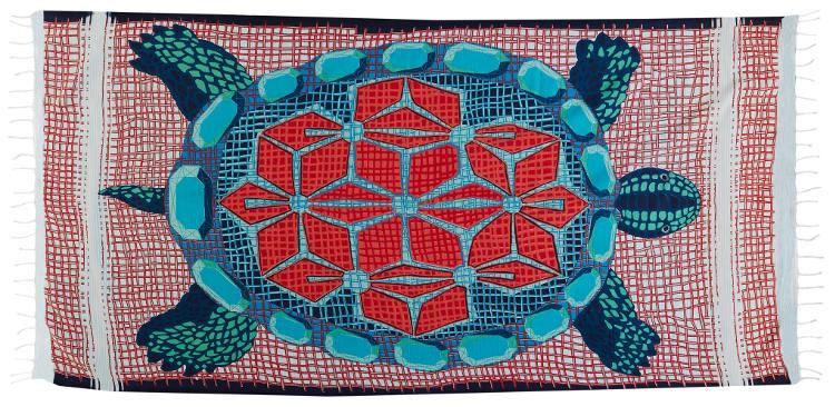 Foutas 100% coton Inouitoosh, collection 2016, la tortue Marinella en rouge.
