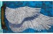 Foutas en coton Inouitoosh, collection 2016, les ailes d'un ange remplacent les voiles d'un bateau sur la mer, ciel bleu azur.