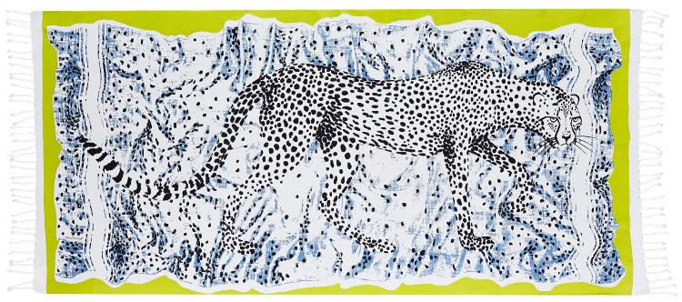 Foutas 100% coton Inouitoosh, collection 2016, le léopard Léonce en noir et blanc sur un fond blanc tacheté de points noir et bordure jaune.