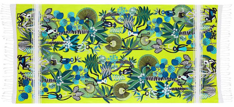 Foutas 100% coton Inouitoosh, collection 2016, les ouistitis en jaune, des singes dans tous les sens, dans les arbres et les feuilles.