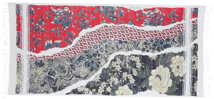 Foutas 100% coton Inouitoosh, collection 2016, le patchwork en rouge.