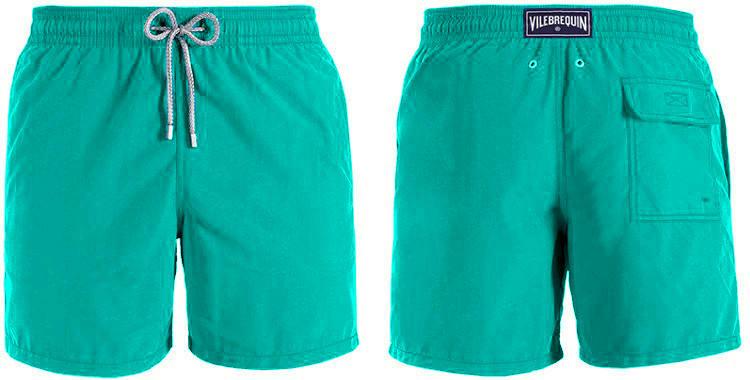 Maillot de bain de luxe pour homme, poches sur les côtés, poche arrière avec rabat, slip intérieur en coton, cordon embout métal, coloris bleu turquoise.