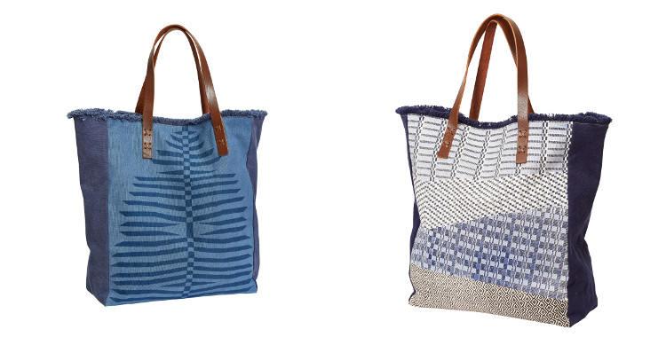 Sacs de plage de la marque Inouitoosh, collection 2016, en toile de coton, poche intérieur en coton et anses en cuir véritable.