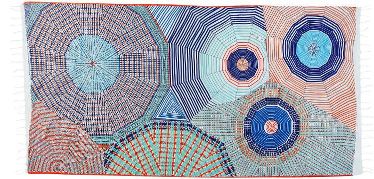 Foutas 100% coton Inouitoosh, collection 2016, imprimé représentant de manière très graphiqe des parasols colorés.