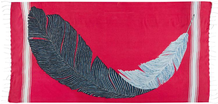 Foutas 100% coton Inouitoosh, collection 2016, imprimé représentant le vol d'une plume.