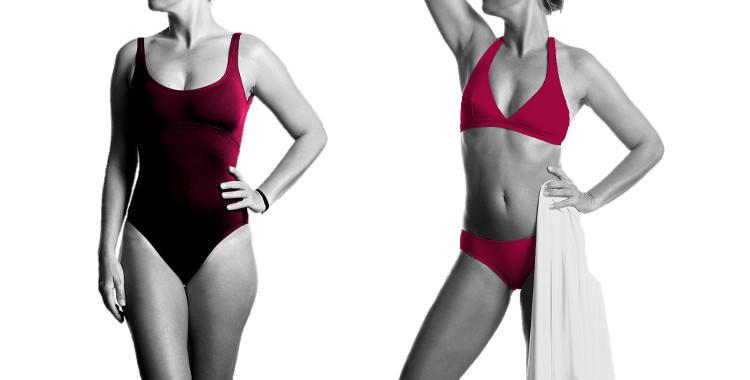 Maillot de bain une pièce ; couture sous poitrine, bretelles sur les épaules. Maillot deux pièces soutien gorge triangle et culotte classique. Coloris carminio.