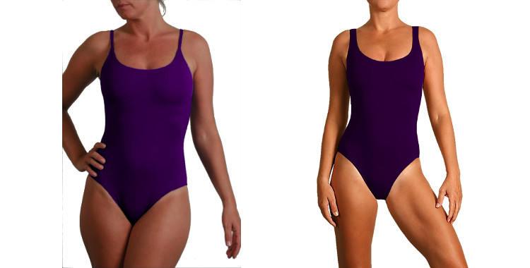 Maillot de bain une pièce Vilnius, fines bretelles, maillot une pièce Madrid, couture sous poitrine, bretelles sur les épaules,décolleté droit, coloris bleu violet.