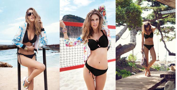 Maillots de bain pour les poitrines généreuses, profondeurs D à F, soutien gorge triangle ou balconnet avec bretelles réglables, culotte fine bikini ou classique.