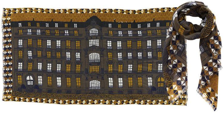 Foulards en étamine de laine et soie, Inouitoosh collection 2016, la façade d'un immeuble Haussmannien, dimensions 190 cm x 100 cm, coloris kaki.