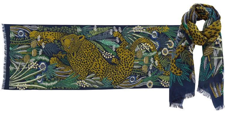 Foulards en étamine de laine et soie, Inouitoosh collection 2016, panthère marchant dans la jungle, dimensions 190 cm x 70 cm, coloris kaki.