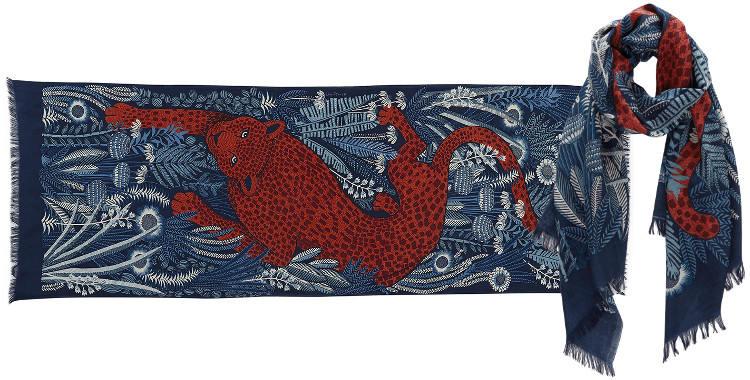 Foulards en étamine de laine et soie, Inouitoosh collection 2016, panthère marchant dans la jungle, dimensions 190 cm x 70 cm, coloris orange.