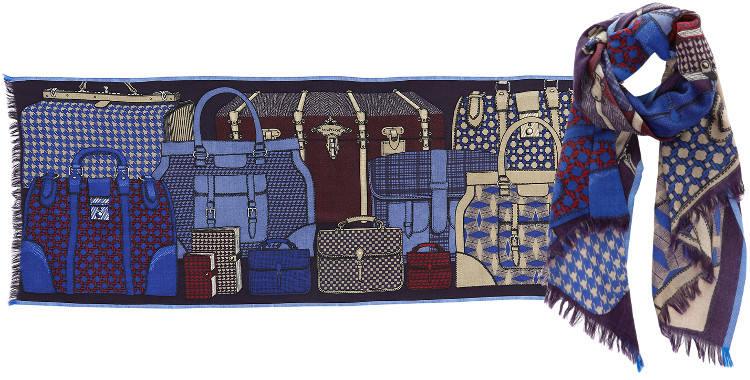 Foulards en étamine de laine et soie, Inouitoosh collection 2016, les bagages, dimensions 190 cm x 70 cm, coloris bleu et bordeaux..