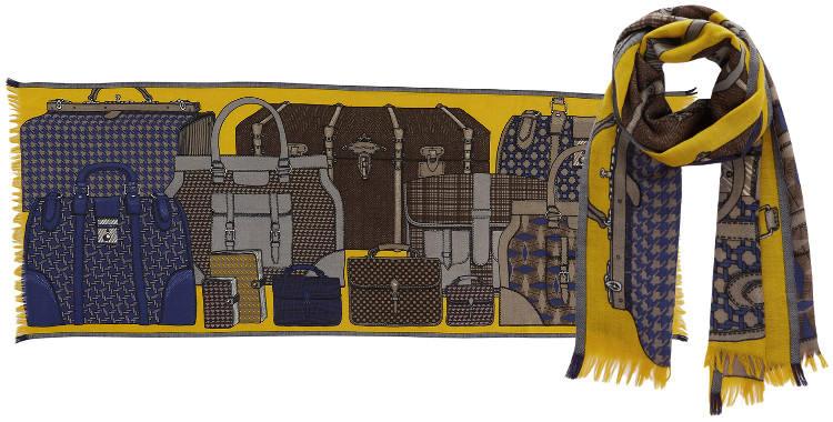 Foulards en étamine de laine et soie, Inouitoosh collection 2016, les bagages, dimensions 190 cm x 70 cm, coloris bleu et jaune.