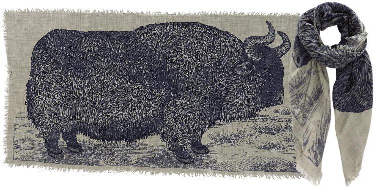 Foulards en étamine de laine e, Inouitoosh collection 2016, le bison, dimensions 190 cm x 100 cm, coloris bleu.