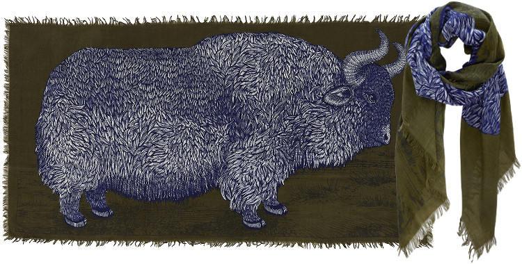 Foulards en étamine de laine e, Inouitoosh collection 2016, le bison, dimensions 190 cm x 100 cm, coloris kaki.