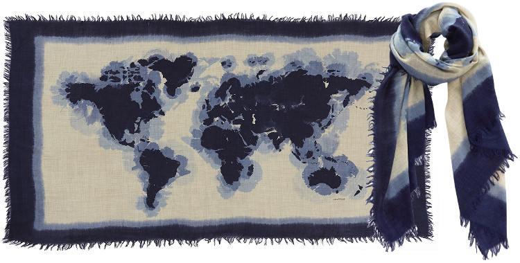 Foulards en étamine de laine , Inouitoosh collection 2016, les continents, dimensions 190 cm x 100 cm, coloris bleu.