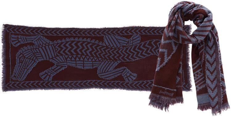 Foulards en étamine de laine, Inouitoosh collection 2016, les crocodiles, dimensions 190 cm x 70 cm, coloris bordeaux.