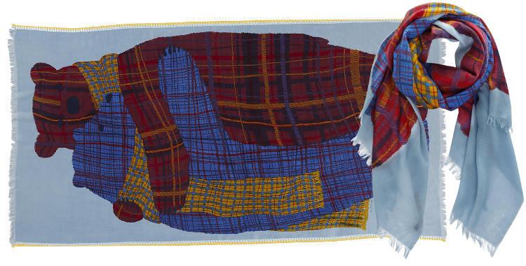 Foulards en étamine de laine , Inouitoosh collection 2016, les nounours, dimensions 190 cm x 100 cm, coloris rouge.
