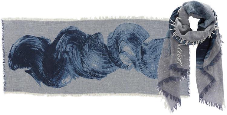 Foulards en étamine de laine, Inouitoosh collection 2016, les volutes, dimensions 190 cm x 70 cm, coloris bleu.