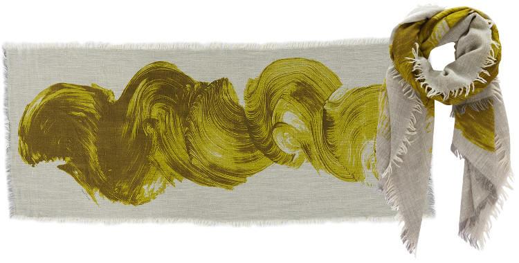 Foulards en étamine de laine, Inouitoosh collection 2016, les volutes, dimensions 190 cm x 70 cm, coloris jaune.