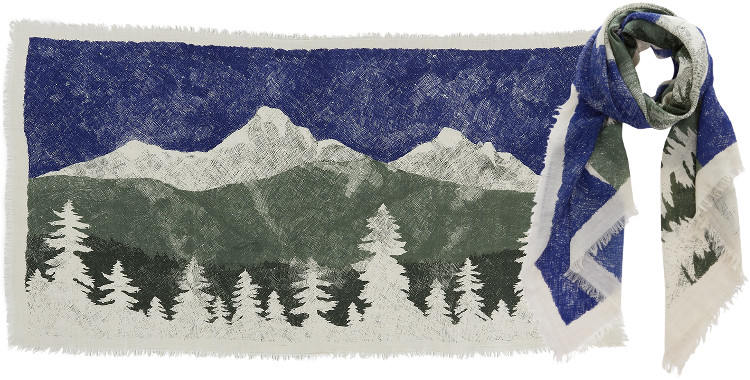 Foulards en étamine de laine e, Inouitoosh collection 2016, le paysage de montagne, dimensions 190 cm x 100 cm, coloris bleu.