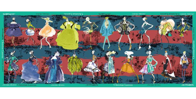 Foulards, étole en étamine de laine et soie, Christian Lacroix, collection hiver 2016/2017, les 20 ans des défilés, coloris bleu canard et bordeaux, bordure verte.