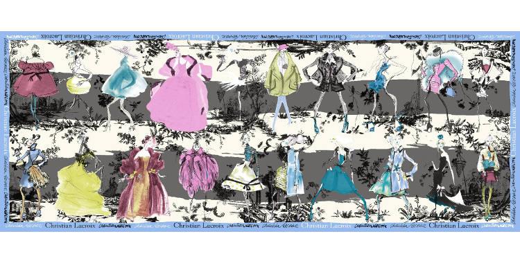 Foulards, étole en étamine de laine et soie, Christian Lacroix, collection hiver 2016/2017, les 20 ans des défilés, coloris blanc et gris, bordure bleu.