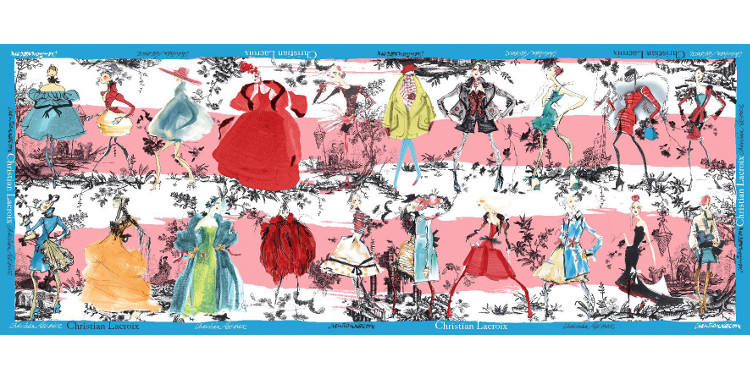 Foulards, étole en étamine de laine et soie, Christian Lacroix, collection hiver 2016/2017, les 20 ans des défilés, coloris blanc et rose, bordure bleu.