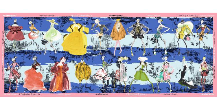Foulards, étole en étamine de laine et soie, Christian Lacroix, collection hiver 2016/2017, les 20 ans des défilés, coloris bleu et turquoise, bordure rose.