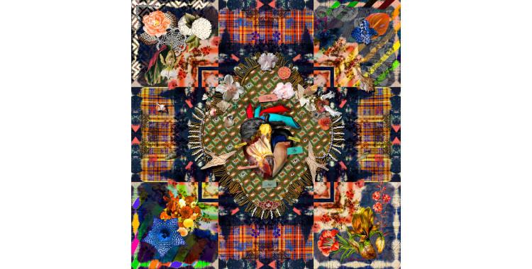 Foulards, châle en étamine de laine extrafine et soie, Christian Lacroix, collection hiver 2016/2017, le coeur vaudou.