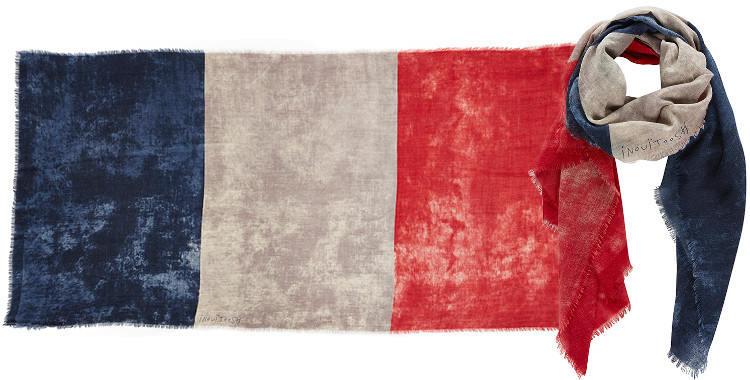 Foulards en étamine de laine e, Inouitoosh collection 2016, le drapeau tricolore, façon vintage, dimensions 200 cm x 100 cm.