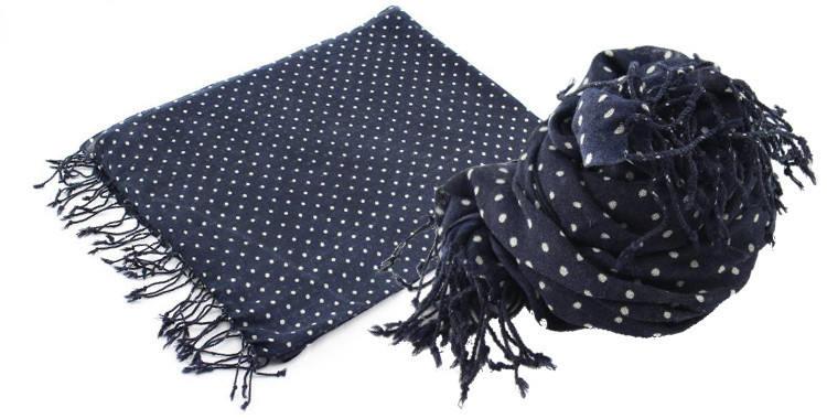 Foulard en étamine de laine fine, de la marque britannique, Glen Prince, imprimé, pois blancs sur fond bleu marine, dimensions 180 x 70 cm, à porter en étole ou en écharpe.