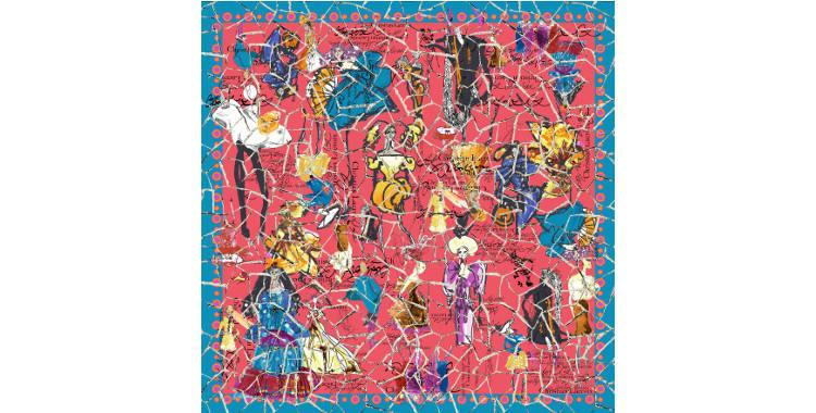 Foulards, carré de soie, Christian Lacroix, collection hiver 2016/2017, les croquis des défilés avec quadrillage, coloris rouge.