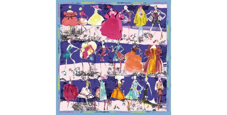 Foulards, carré de soie, Christian Lacroix, collection hiver 2016/2017, les 20 ans des défilés, coloris marine et rose, bordure bleu ciel.