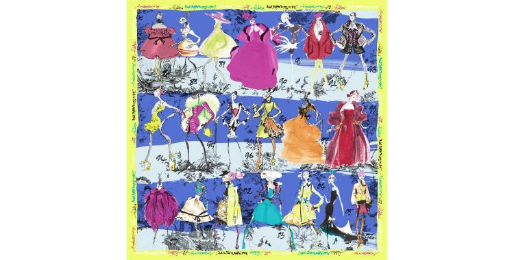 Foulards, carré de soie, Christian Lacroix, collection hiver 2016/2017, les 20 ans des défilés, coloris bleu et turquoise, bordure jaune.