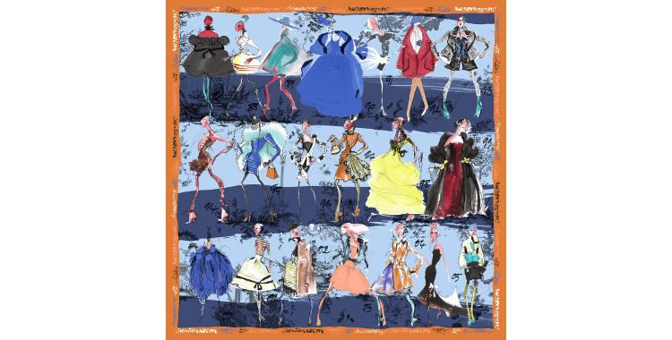Foulards, carré de soie, Christian Lacroix, collection hiver 2016/2017, les 20 ans des défilés, coloris bleu ciel et marine, bordure orange.