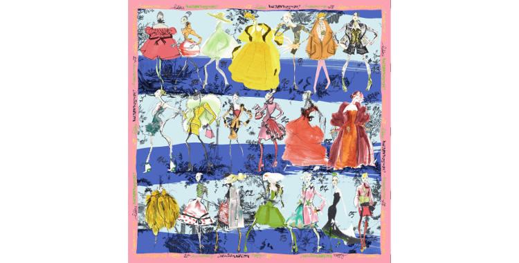 Foulards, carré de soie, Christian Lacroix, collection hiver 2016/2017, les 20 ans des défilés, coloris bleu et turquoise, bordure rose.