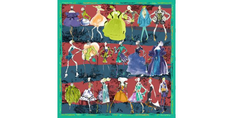 Foulards, carré de soie, Christian Lacroix, collection hiver 2016/2017, les 20 ans des défilés, coloris bordeaux et bleu canard, bordure vert.