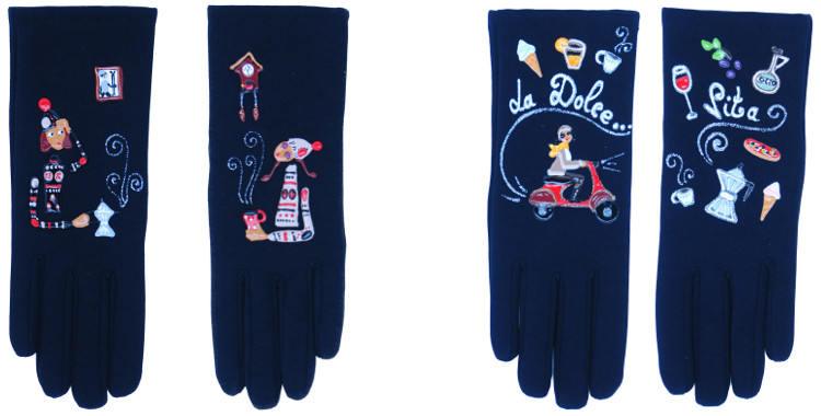 Les gants fantaisie de la marque Quand les poules auront des gants sont peints à la main et au pochoir, modèles La Pause Café et la dolce vita.
